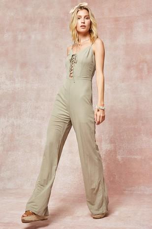 HRE8174 Lace-up Wide-leg Jumpsuit...