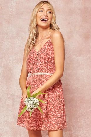 JDJ9853 Floral Buttoned Lace-Trim Mini Sundress