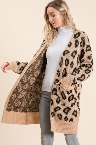S1953 Leopard Pattern Sweater Cardigans-C