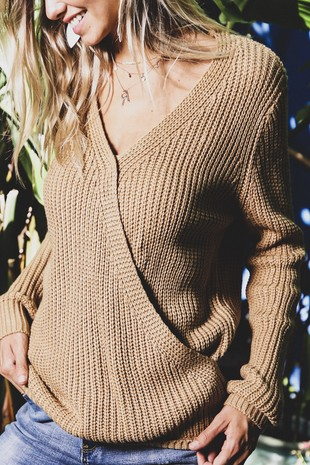 RK2672 DEEP V-NECK OVERLAPPED CASUAL SWEATER 001