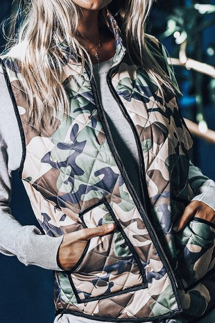 RV2001-1 CAMOUFLAGE  PADDED VEST WITH FRONT ZIPPER