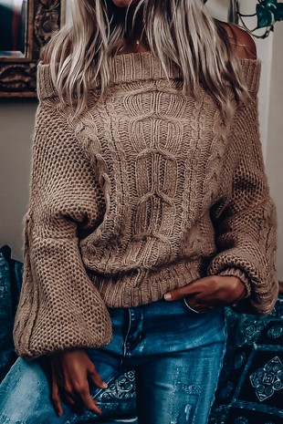 RK2745 OFF SHOULDER  PUFF SLEEVE KNIT SWEATER
