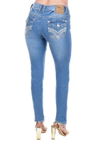 Womens Rhinestone Embroidered Skinny Jeans S550