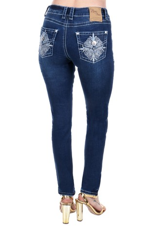 Womens Rhinestone Embroidered Skinny Jeans S551
