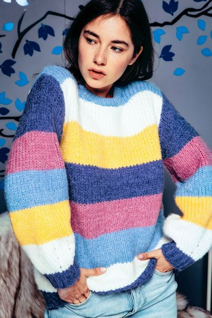 NPO7026 CHUNKY MULTI COLOR BLOCK STRIPED SWEATER