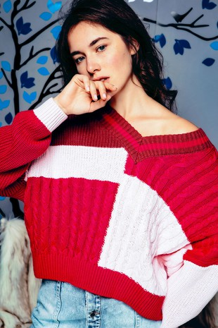 NPO7093-F MULTI KNIT COLOR BLOCK V NECK SWEATER
