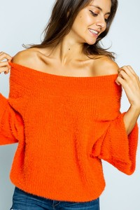 SPL7419 OFF SHOULDER FURRY WIDE SLEEVE SWEATER