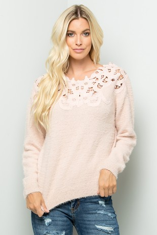 SW138 Sweater.Crochet Lace ..
