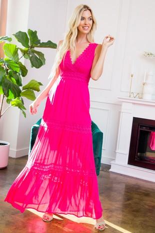 SD123 Crochet Lace Maxi Dress  ...