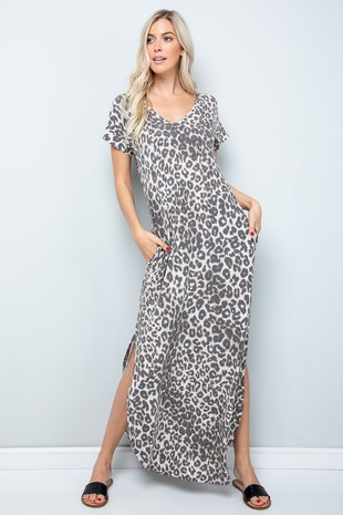 SD5350. Leopard Maxi Dress