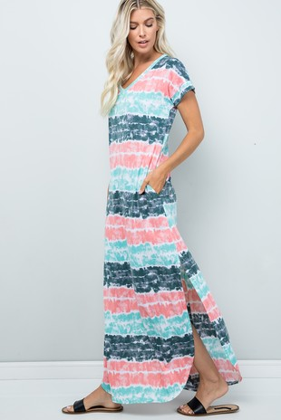 SD5353 Tie Dye Maxi Dress .