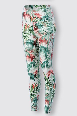 0085-6034 TROPICAL LEAF PRINT LEGGINGS BOTTOM