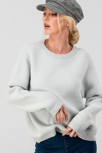 0367-1013 FUZZY SOLID CREW NECK SWEATER TOP
