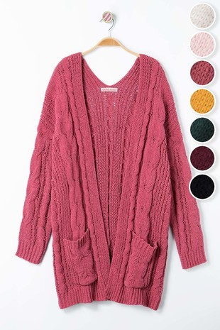 0561-4239 CHUNKY CABLE KNIT OPEN CARDIGAN