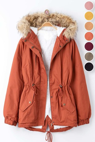 0898-7419-1 FAUX FUR HOODED PARKA WITH FUR LINER
