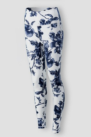 0085-6560 BLUE FLORAL PRINT LEGGINGS