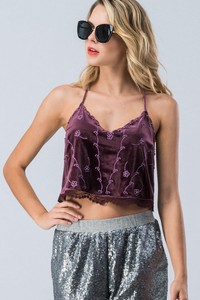 0864-5005 VELOUR FLORAL EMBROIDERED CROPPED CAMI