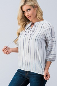 0744-5669 STRIPED BUBBLE SLEEVE PEASANT TOP WITH T