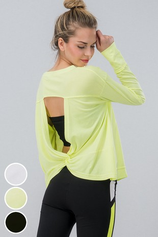 0085-4568 LONG SLEEVE BASIC WORK OUT TOP W BACK CU