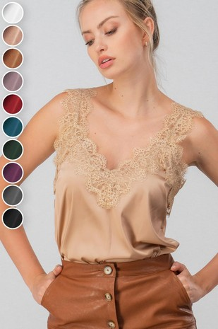 0501-9411-2 EYELASH LACE SILKY SATIN CAMI