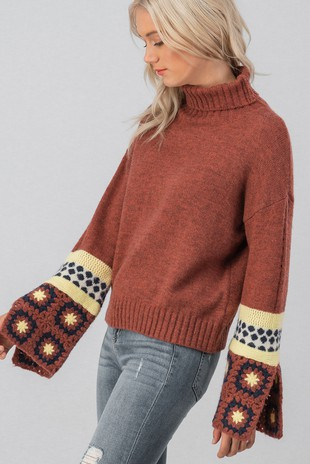 0217-8894-1 KNIT TURTLE NECK SWEATER WITH CR-