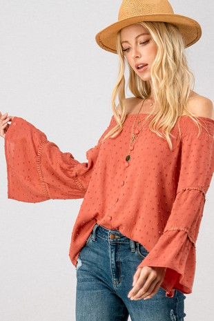 0911-2511 POM POM SMOCKED OFF THE SHOULDER BLOUSE