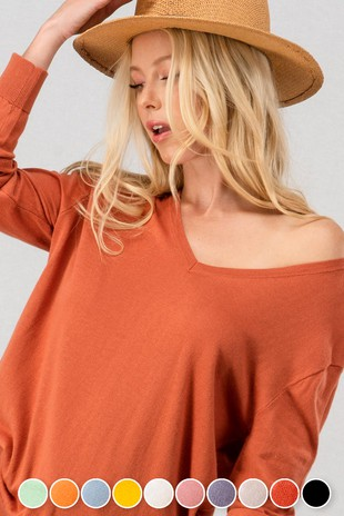 0865-3806-3 BASIC V NECK KNIT TOP