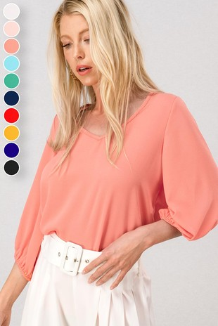 0952-1632-1 BALLOON SLEEVE V NECK BASIC TOP-