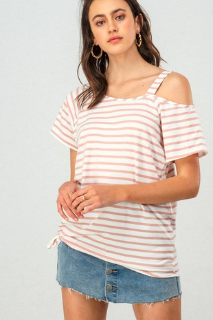 0229-1028 ASYMMETRICAL ONE COLD SHOULDER STRIPE TO