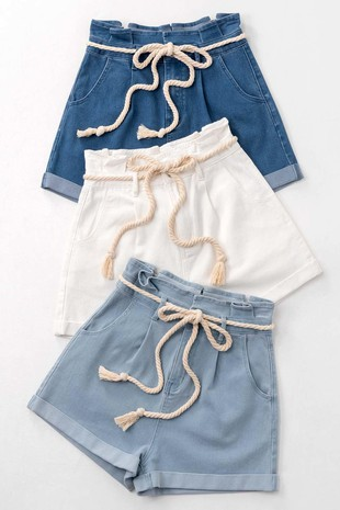 0230-7291 ROPE BELTED PAPERBAG SHORTS