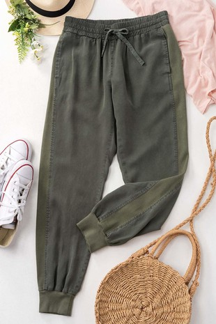 0271-6395-1 MINERAL WASHED SIDE ELASTIC PANTS
