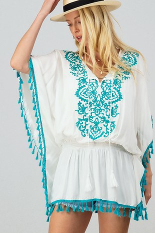 0282-2467 EMBROIDERED TASSEL TRIM COVER UP