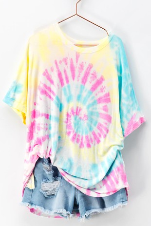0393-7028-3 COTTON CANDY SWIRL TIE DYE CREWN-