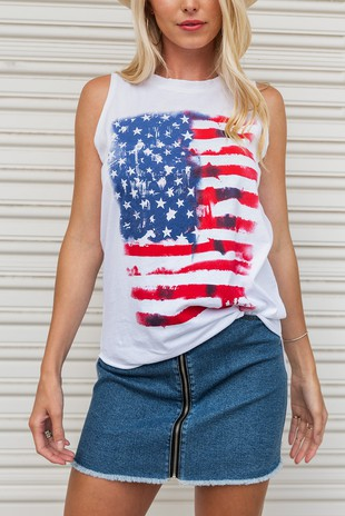 0361-9243-6 SLEEVELESS KNIT TOP WITH AMERICA