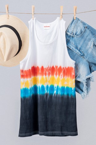0059-8976 TIE DYE COLOR BLOCK SLEEVELESS TOP