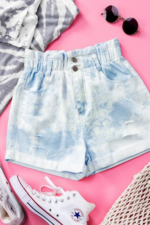 0645-0353-2 TIE DYE HIGH WAISTED SHORTS