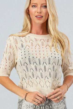 0439-0922 LACED KNIT SHORT SLEEVE TOP