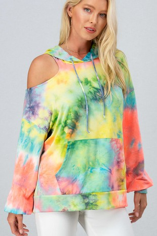 0466-7629 TIE DYE ONE COLD SHOULDER OVERSIZED HOOD