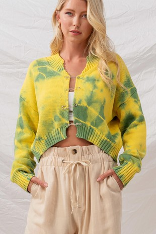 0672-2199-1 TIE DYE SAFTEY PIN KNIT SWEATER