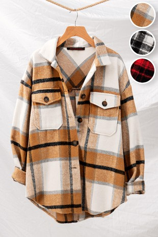 0679-4844 CHECKERED OVERSIZED BUTTON DOWN JACKET