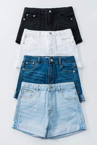 0171-8421-2 Washed Denim Shorts with Folded