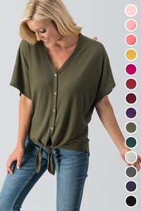 0119-7679-8 WAFFLE BUTTON DOWN KNOT LOSE FIT TOP