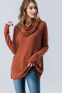 0728-6972-3 Brushed Knit Solid Cowl Neck Top-Clone
