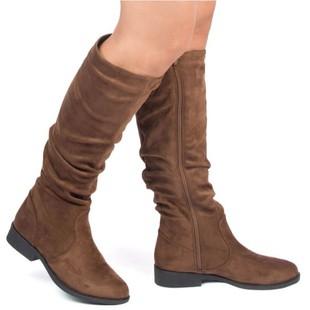 WOMEN KNEE HIGH SLOUCHY LOW HEEL BOOTS ZION-04BX