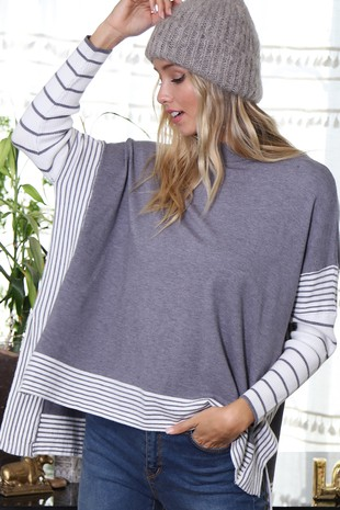 WK2604 PONCHO STYLE KNIT SWEATER STRIPE SLEEVES