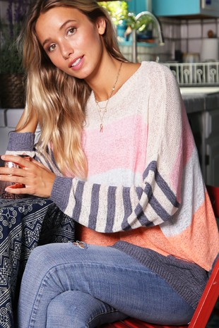 WK2726  MULTI   COLOR STRIPE LIGHT WEIGHT SWEATER