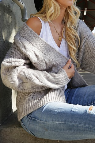 WK2730 CABLE  KNITTED CARDIGAN 004