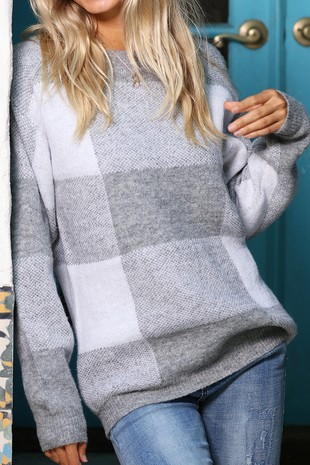 WK2301 OVERSIZE PLAID KNITTED  SWEATER 008