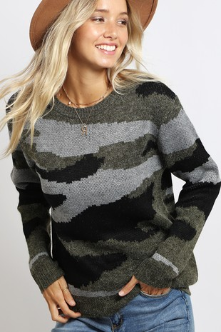 WK2740 CAMOUFLAGE  KNITTED SWEATER TOP 003
