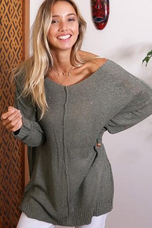 WK2676 Soft feel High Quality V neck sweater 005